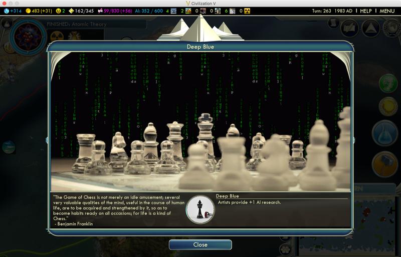 В игре показан и компьютер Deep Blue от IBM, который помогает игрокам ускорить исследования в области ИИ