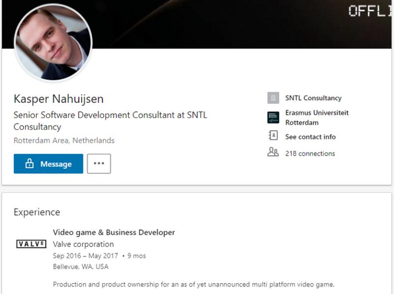 Профиль Каспера Нахьюсена на Linkedin