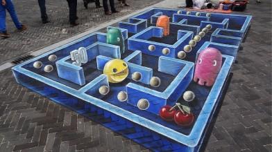 Замечательный трехмерный стрит-арт с Пак-Мэном
