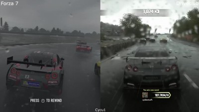 Forza 7 vs Driveclub - Xbox One X vs PS4 Pro Эффект дождя Сравнение