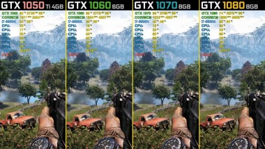 Far Cry 4 - GTX 1050 Ti vs. GTX 1060 vs. GTX 1070 vs. GTX 1080 - 1440p