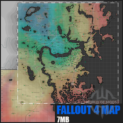 Подробная карта Fallout 4