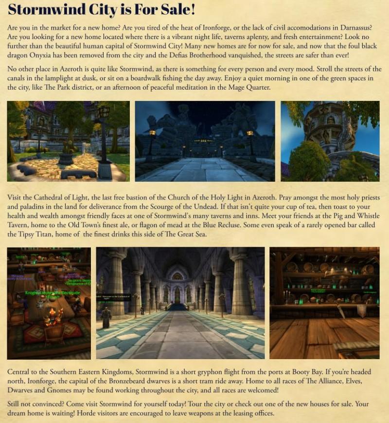 Реклама Штормграда и почему игроки должны привязать камень возвращения именно в тавернах этого города.