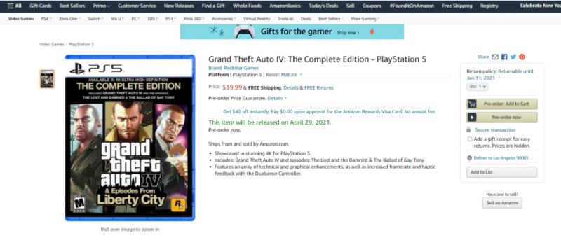 Grand Theft Auto IV: Complete Edition может выйти на PS5