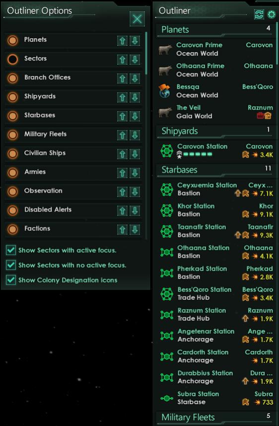 В планировщике также можно заменить значки классов планет на значки их категорий.