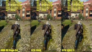 The Witcher 3 AMD RX Vega 64 Vs GTX 1080 Vs GTX 1080 TI Сравнение