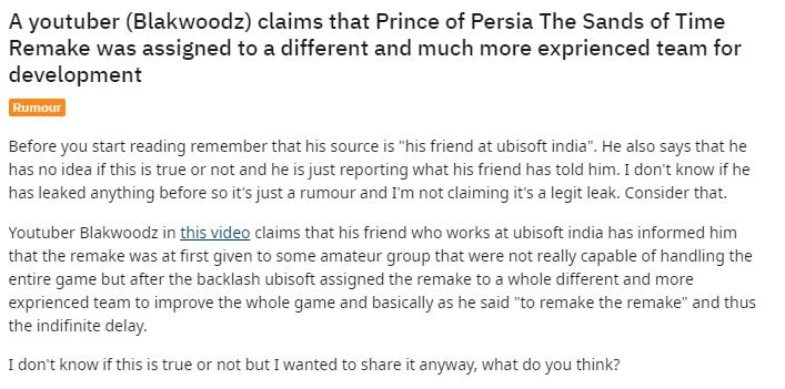 Слух: Ubisoft отдала Prince of Persia Remake на переделку более опытной команде