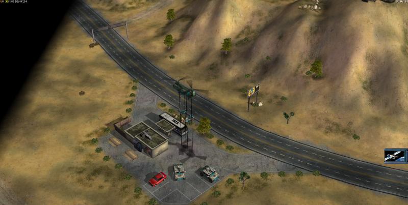 Бензозаправка и обход с левой части карты, а также гора с тропами для обхода