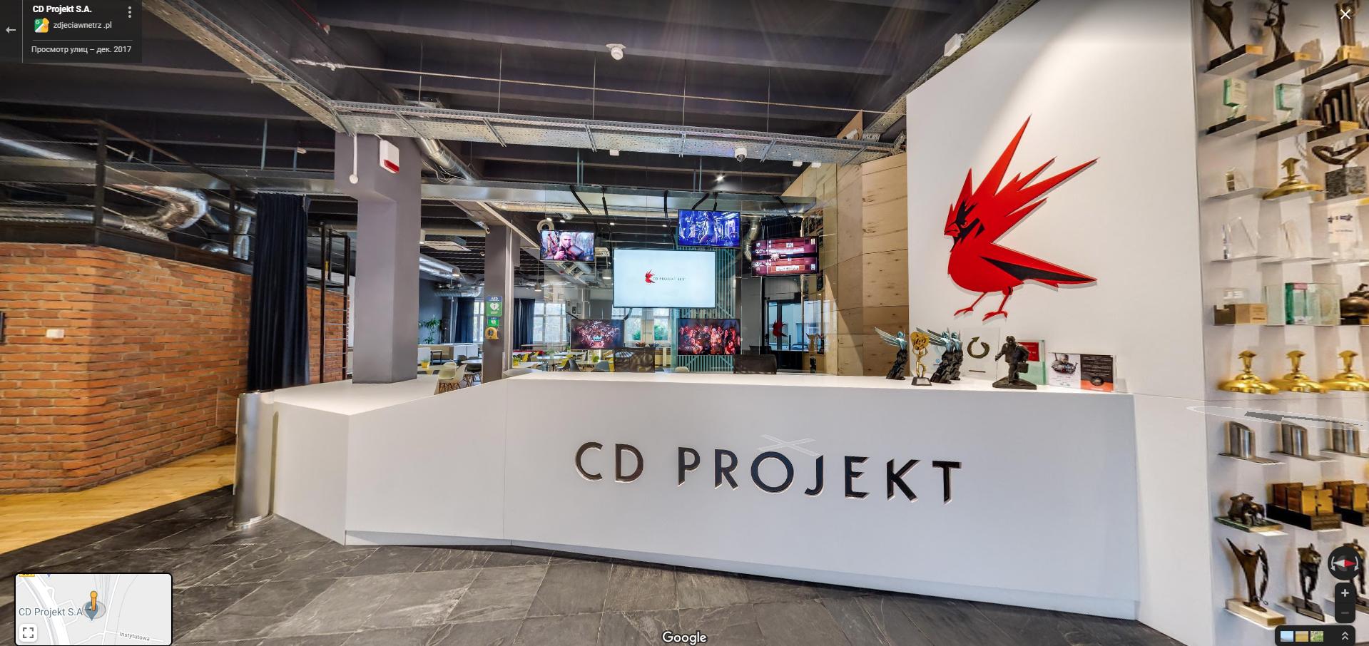 Вы можете совершить виртуальный тур по CD Projekt Red, используя Google Maps