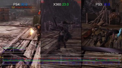 "Middle-earth: Shadow of Mordor""Сравнение частоты кадров PS4 vs Xbox 360/PS3 ""от Digital Foundry"