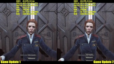 Dishonored 2 PC Game Update 2 Vs Game Update 1 Beta GTX 1080 Частота кадров Сравнение