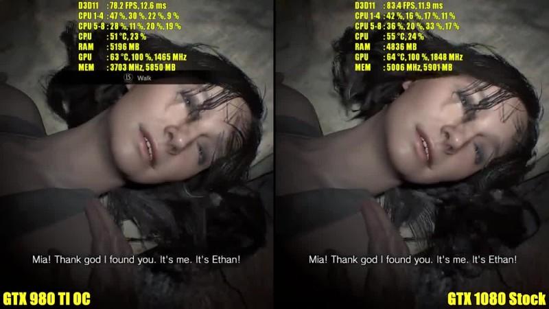 Resident Evil 7 GTX 1080 GTX со Vs 980 TI OC Частота кадров Сравнение
