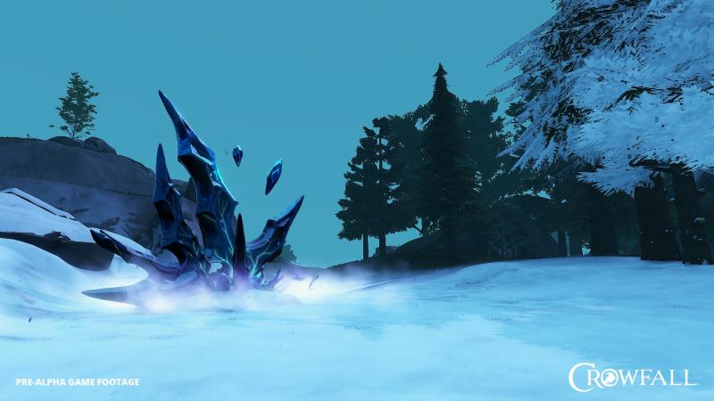 Кристалл Скверны и его влияние на окружающий мир. Все что под снегом нельзя добыть или произвести взаимодействие. Чтобы разблокировать ресурсы нужно уничтожить кристалл.