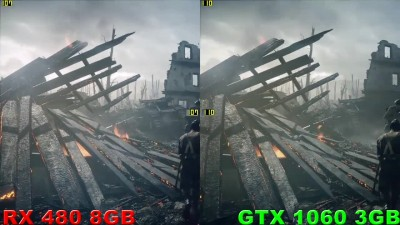 GTX 1060 3Gb vs RX 480 8Gb в Battlefield 1