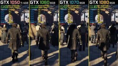 Assassin's Creed: Syndicate - GTX 1050 Ti vs. GTX 1060 vs. GTX 1070 vs. GTX 1080